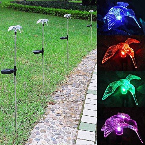Outdoor Garden Led Solar Landscape Path Light Color Changing Christmas Party Decor Lamp Patio Yard Decoration Lighting(8 Set, Humming Bird)