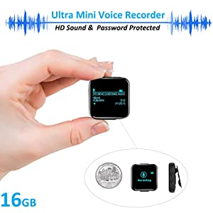 Mini Voice Recorder, 16GB Digital Voice Activated Recorder with Clip, Stereo Audio Sound Recorder MP3 Player 1160 Hours Recordings Capacity for Lectures, Meetings, Class (Color: M7-Black-16G, Tamaño: M7)