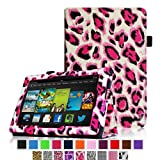 Fintie Amazon All New Kindle Fire HD 7 inch Slim Fit Folio Case with Auto Sleep / Wake Feature (will only fit All New Kindle Fire HD 7 2014 Model) - Leopard Magenta