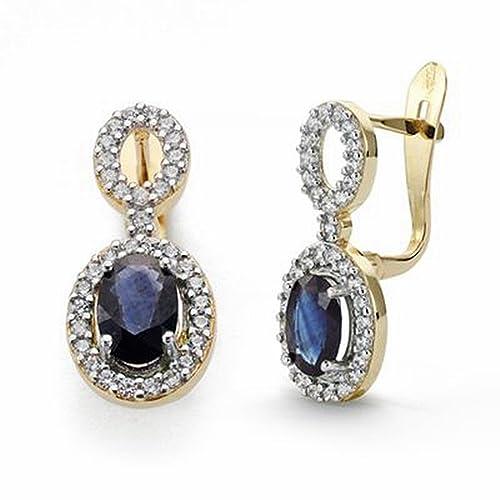 18k gold earrings sapphires and zircons 18mm long. [AA2063]