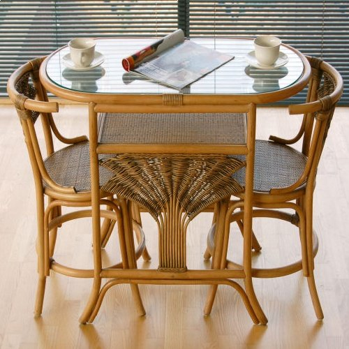 home garden direct atlanta cane rattan dining breakfast table chair set for 2 - Breakfast Table And Chairs Set
