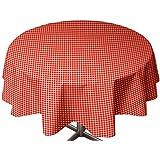 Soleil d'Ocre 855133 Vichy Nappe Toile Cirée Rond PVC Rouge 160 x 160 cm