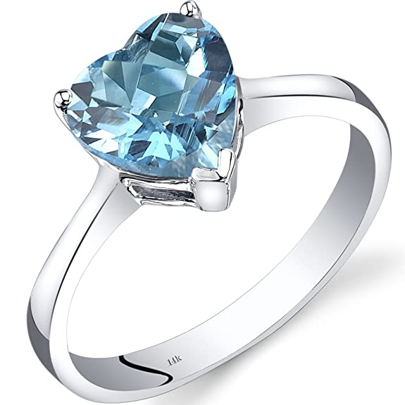 Revoni 14ct White Gold Swiss Blue Topaz Heart Solitaire Ring 2.00 Carat