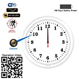 WiFi Hidden Camera Wall Clock Recorder Fuvision with Camera Lens Adjustable Motion Detect and Remote Live View Built-in 5000mah Battery for 180 Days Recording Standby Time Security Camera(Video Only!) (Color: one year battery power wall clock hidden camera, Tamaño: long battery power hidden camera wifi wall clock)