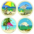"Coasterstone AS2300 Absorbent Coasters, 4-1/4-Inch, ""Beach Birds"", Set of 4"