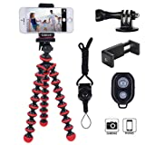 Phone Tripod, Linkcool Octopus Tripod with Wireless Remote Phone Holder Mount Use as iPhone Tripod, Cell Phone Tripod, Camera Tripod, Travel Tripod,Tabletop Tripod for iPhone Gopro (Color: Red)