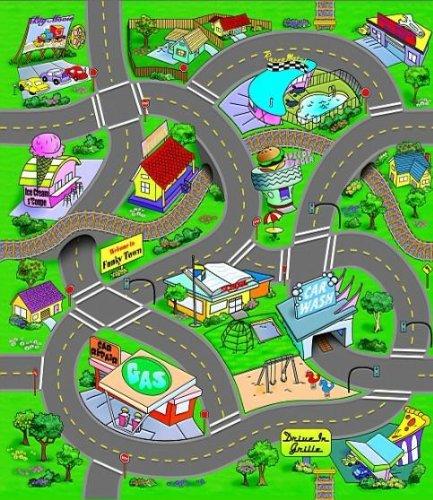 Spielteppich Kinder Teppich Straßenteppich Teppich Straßen Spiel Autoteppich mit Spielauto günstig kaufen