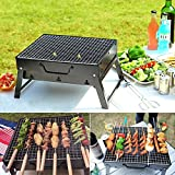 Charcoal BBQ Grill Folding Portable Stainless Steel Barbecue Grill for Outdoor Camping Cookouts (13.8