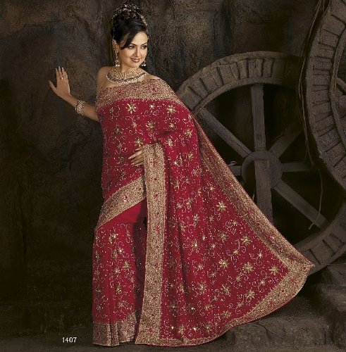 Magenta Party Wedding Designer Vogue Dress Sari Saree