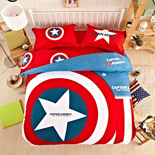 CASA Children 100% cotton series Captain America Shield Duvet cover and Pillow cases and Flat sheet,4 Pieces,Queen (Captain America In Bedding compare prices)