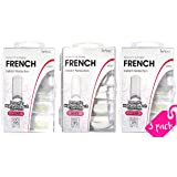 beYou 3PACK French 100 Professional Artificial Fake False Nail Tips, Nail Salon Nail Shop (Clear, White, Clear) (French) (Tamaño: 10 Sizes)