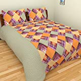 BRiDA Cotton Double Bedsheet with 2 Pillow Covers - Multi Color, BRI125