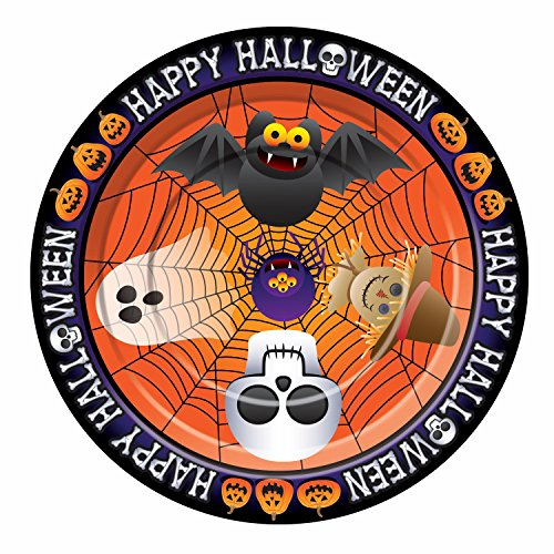 Forum Novelties 8 Count Happy Halloween Dinner Plates, Orange - 1