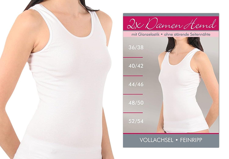 4-er oder 8-er Pack Damen-Unterhemd weiß ohne Spitze 100% Baumwolle Feinripp weich und atmungsaktiv Gr. 36/38 bis 56/58 lieferbar günstig online kaufen