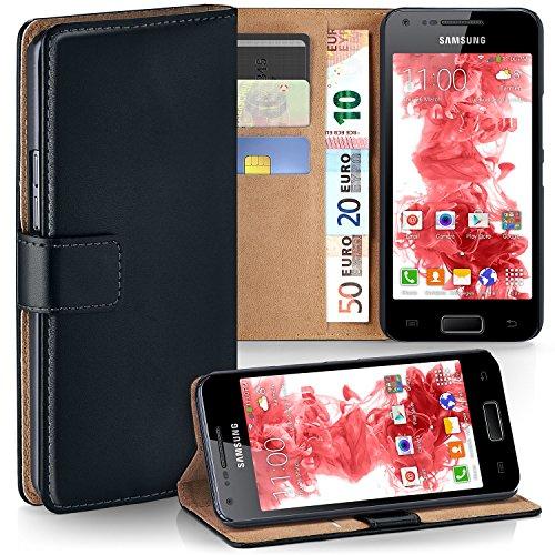 OneFlow PREMIUM - Book-Style Custodia con design portamonete e funzione stand per Samsung Galaxy S Advance - DEEP-BLACK