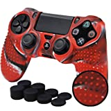 Sololife PS4 Controller Skin Grip Anti-Slip Silicone Cover Protector Case for Sony PS4/PS4 Slim/PS4 Pro Controller with 8 Thumb Grips (Red Camouflage) (Color: Red Camouflage)