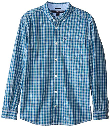 Tommy Hilfiger Big Boys' Long Sleeve Woven Jameson Plaid, White, Small