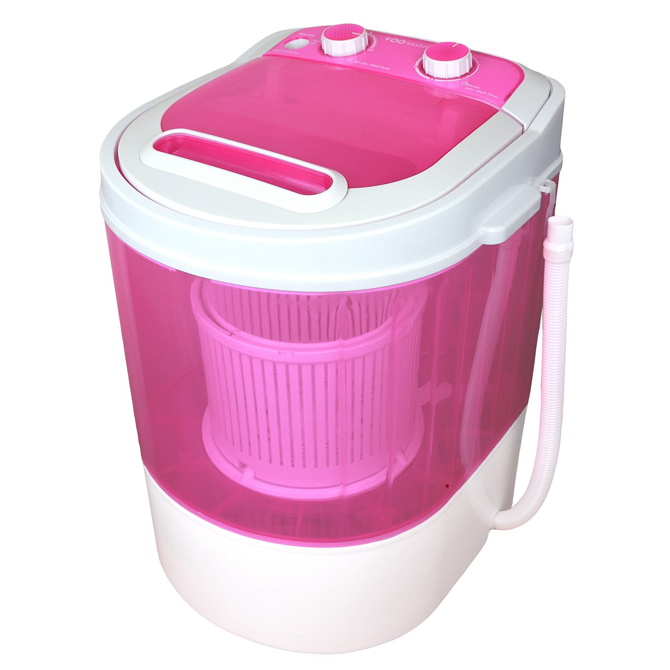 WOOWasher Mini Portable Washing Machine & Spin Dry 6.6 lbs Capacity Compact Laundry Washer for Clothes, Garments, Towels (Pink)