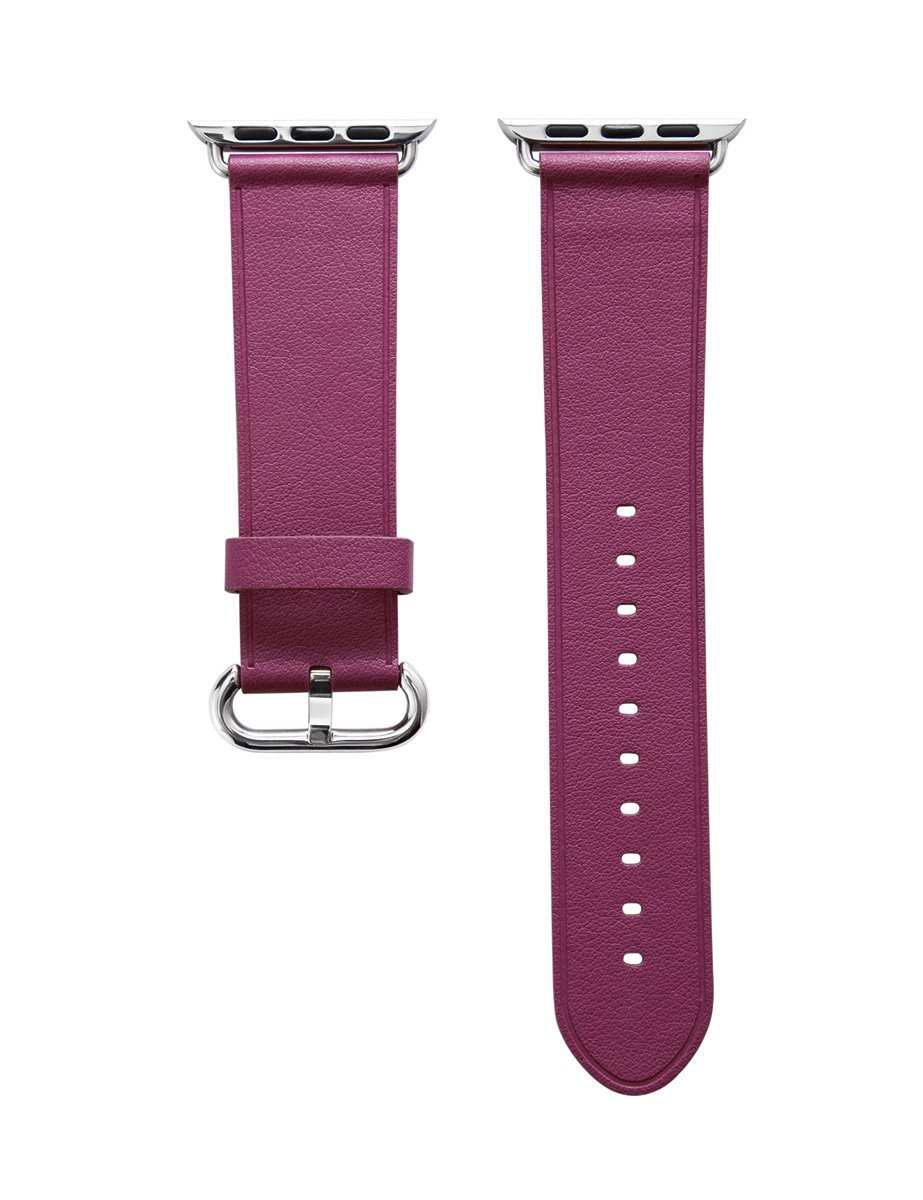 Apple Watch Band, Aisun® Vintage Embossed Genuine Leather strap Wrist Band Replacement with Metal Clasp for Apple Watch All Models (Fuchsia 38mm) 1