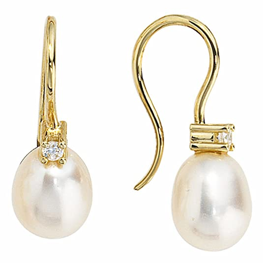 EAR HOOK EARRINGS 333/-YELLOW GOLD 2 CULTURED FRESHWATER PEARLS, 2 ZIRCONIA