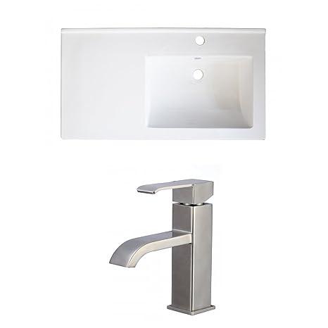"Jade Bath JB-15992 34"" W x 18"" D Ceramic Top Set with Single Hole CUPC Faucet, White"