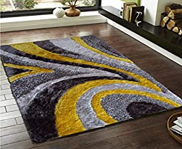 RUG ADDICTION EXACT SIZE ~5\' ft. x 7\' ft. Indoor Plush Bedroom Area Rug In Color Grey with Yellow