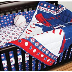 MLB Texas Rangers 4pc Crib Bedding And One Window Valance - Baseball Baby Quilt... by Sports Coverage