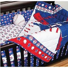 MLB Texas Rangers 4pc Baseball Crib Bedding Set by MLB
