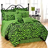 Lime Green Zebra 8 Pc Queen Comforter Set, One Matching Shower Curtain, and Set of (Two) Matching Window Valance/Drape Sets; Entire Set Includes: (1 Comforter, 1 Flat Sheet, 1 Fitted Sheet, 2 Pillow Cases, 2 Shams, 1 Bedskirt, 2 Valance/Drape Sets) SAVE B