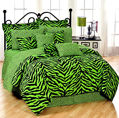 Lime Green Zebra 6 Pc Extra Long Twin Comforter Set, One Matching Shower Curtain And Set Of (Two) Matching Window Valance/Drape Sets; Entire Set Includes: (Comforter, 1 Flat Sheet, 1 Fitted Sheet, 1 Pillow Case, 1 Sham, 1 Bedskirt, 1 Shower Curtain, 2 Val front-1073676