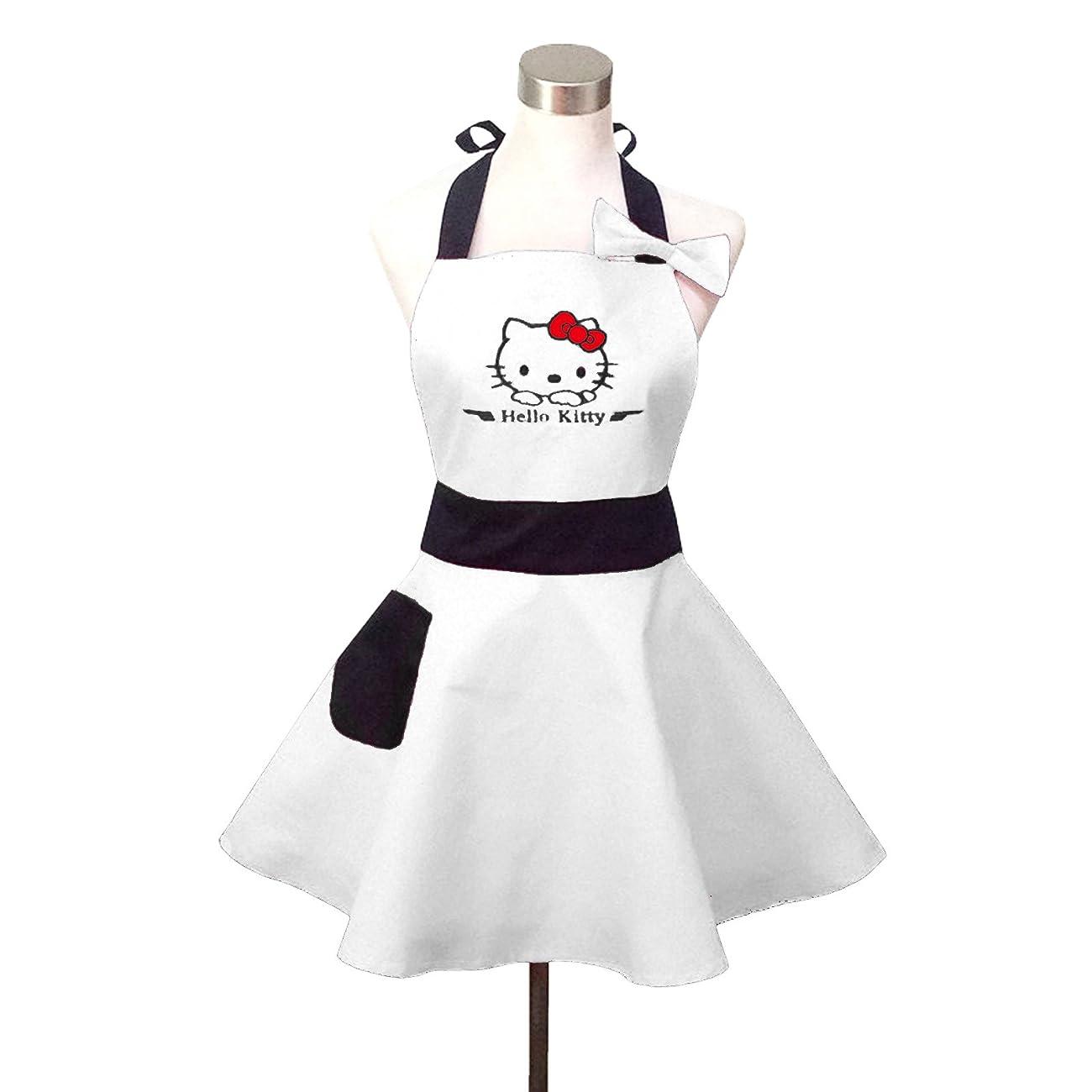 Lovely Hello Kitty White Retro Kitchen Aprons for Woman Girl Cotton Cooking Salon Pinafore Vintage Apron Dress 0