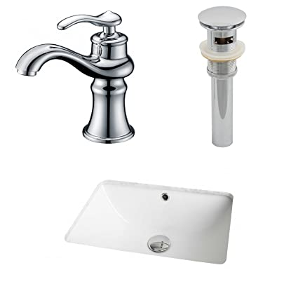 "Jade Bath JB-12959 18.25"" W x 13.5"" D CUPC Rectangle Undermount Sink Set with Single Hole CUPC Faucet and Drain, White"