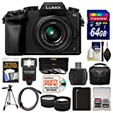 Panasonic Lumix DMC-G7 4K Wi-Fi Digital Camera & 14-42mm Lens (Black) with 64GB Card + Case + Flash + Battery + Tripod + Tele/Wide Lens Kit