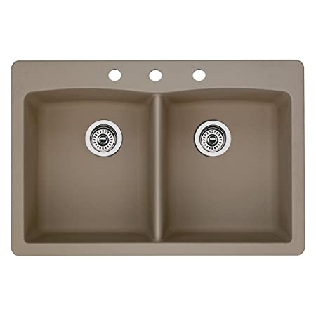 Blanco 441285-3 Diamond 3-Hole Double-Basin Drop-In Granite Kitchen Sink, Truffle