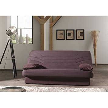 Sofá-cama de 3 plazas, tejido 100% algodón, color marrón