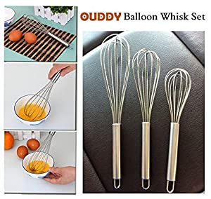 Ouddy Stainless Steel Whisk - Stainless Steel Egg Frother - Stainless Steel French Whip - Handle Milk Egg Beater Whisk Shaker Frother - Kitchen Blender - Set of 3 by Ouddy