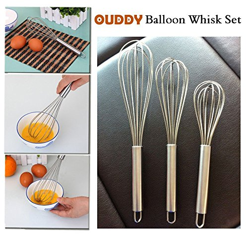 Buy Cheap Ouddy Stainless Steel Whisk, Egg Frother, Milk & Egg Beater Blender, Set of 3