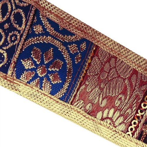Gold Jacquard Trim Thread Weaving Border Decorative Lace Sewing Craft India 3 Yd