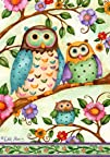 Owl Family Floral Tree House Flag 28 x 40