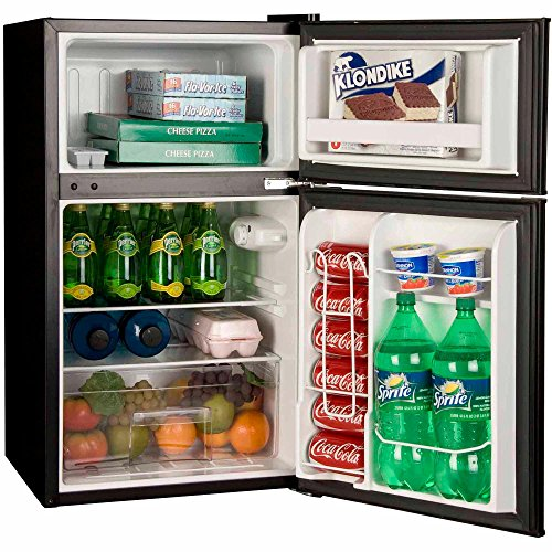 Haier HC32TW10SB 3.2cu ft 2Door Mini Refrigerator for Garage Dorm Office - Black (Haier 2 Door Fridge compare prices)
