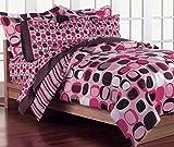 Loft Style Opus Pink Geometric Girls Comforter Bedding Set, Brown, Twin