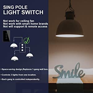 LIVOLO Touch Light Switch with LED Indicator with Black Tempered Glass Panel US Standard Wall Switch 3 Gang 1 Way,Suitable for 1 Gang Wall Box, C503-12 (Color: 3 Gang Black, Tamaño: Black)