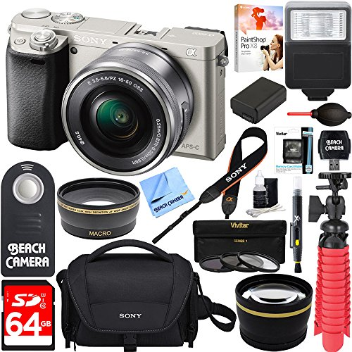 Sony-Alpha-a6000-Silver-Interchangeable-Lens-Camera-16-50mm-Power-Lens-64GB-Accessory-Bundle-DSLR-Photo-Bag-Extra-Battery-Wide-Angle-Lens2x-Telephoto-Lens-Flash-Remote-Tripod