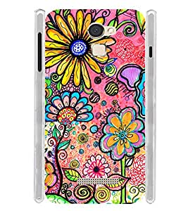 Floral Graphic Pattern Soft Silicon Rubberized Back Case Cover for Panasonic Eluga Mark