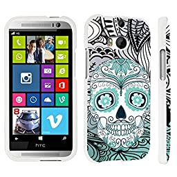 DuroCase ® HTC One M8 Hard Case White - (Day of the Dead Skull)