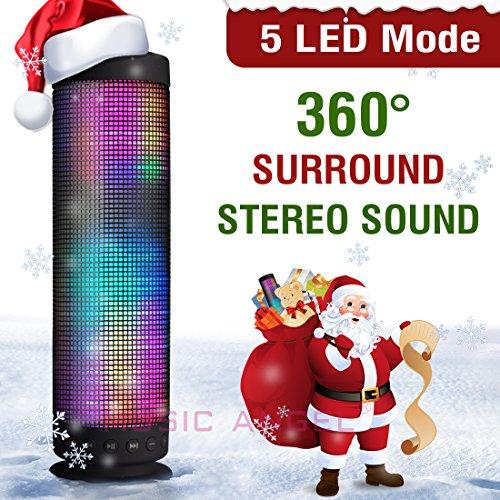 MUSIC ANGEL ® tragbarer kabelloser WLAN Lautsprecher mit Bluetooth 4.0 wireless Stereo 2400mAh Akku für 8 Stunden 5 LED Modus und innenpolitische Mikrofon für Indoors/Outdoors/Schauen (farbig)