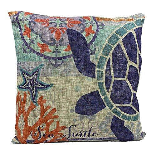 FUJINET Cotton Linen Blue Ocean Series Cushion Cover Throw Pillow Case 17.7