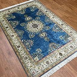 4\'x6\' Blue Traditional Persian Silk Handmade Area Rugs Living Room Oriental Carpet