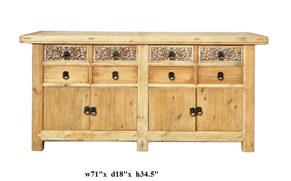 Chinese Vintage Natural Finish Carving Sideboard Buffet Cabinet Acs1147 5