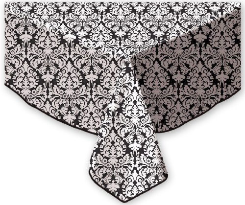 Waverly Mini Muse Peva Flannel Back Tablecloth, 70-Inch Round, Onyx front-1022138